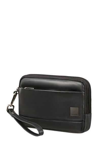 Hip-Square Lth Clutch Bag