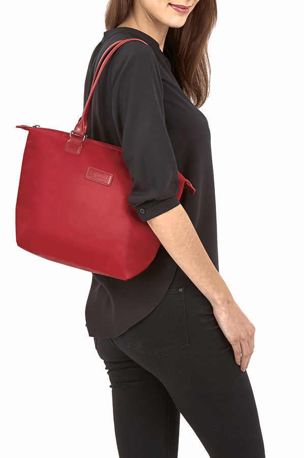 lipault lady plume shopping bag  ruby rolling luggage